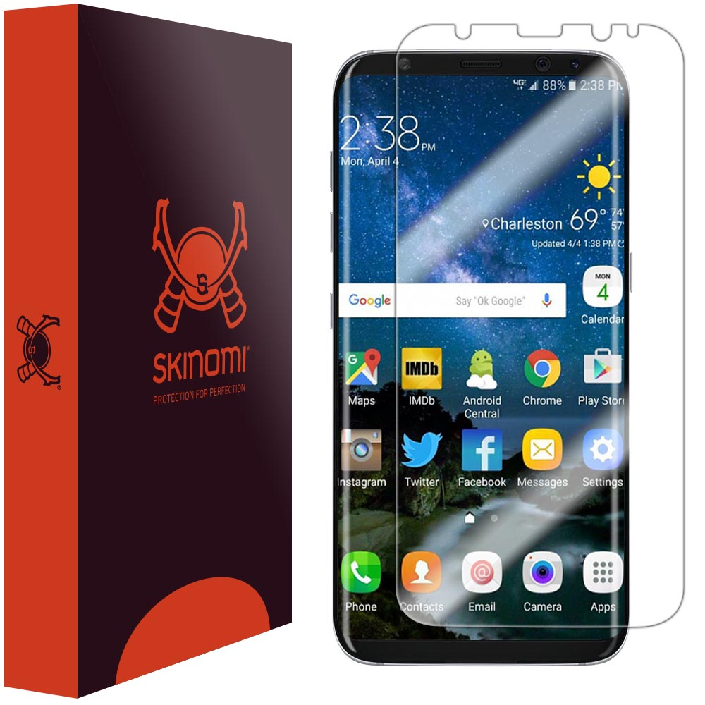 S8+ Full Coverage Skinomi Brushed Aluminum Full Body Skin Compatible with Galaxy S8 Plus TechSkin with Anti-Bubble Clear Film Screen Protector