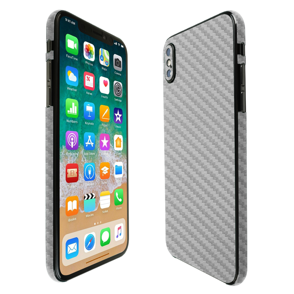 low priced 7963e f0287 Details about Skinomi TechSkin - Silver Carbon Fiber Skin & Screen  Protector for iPhone X