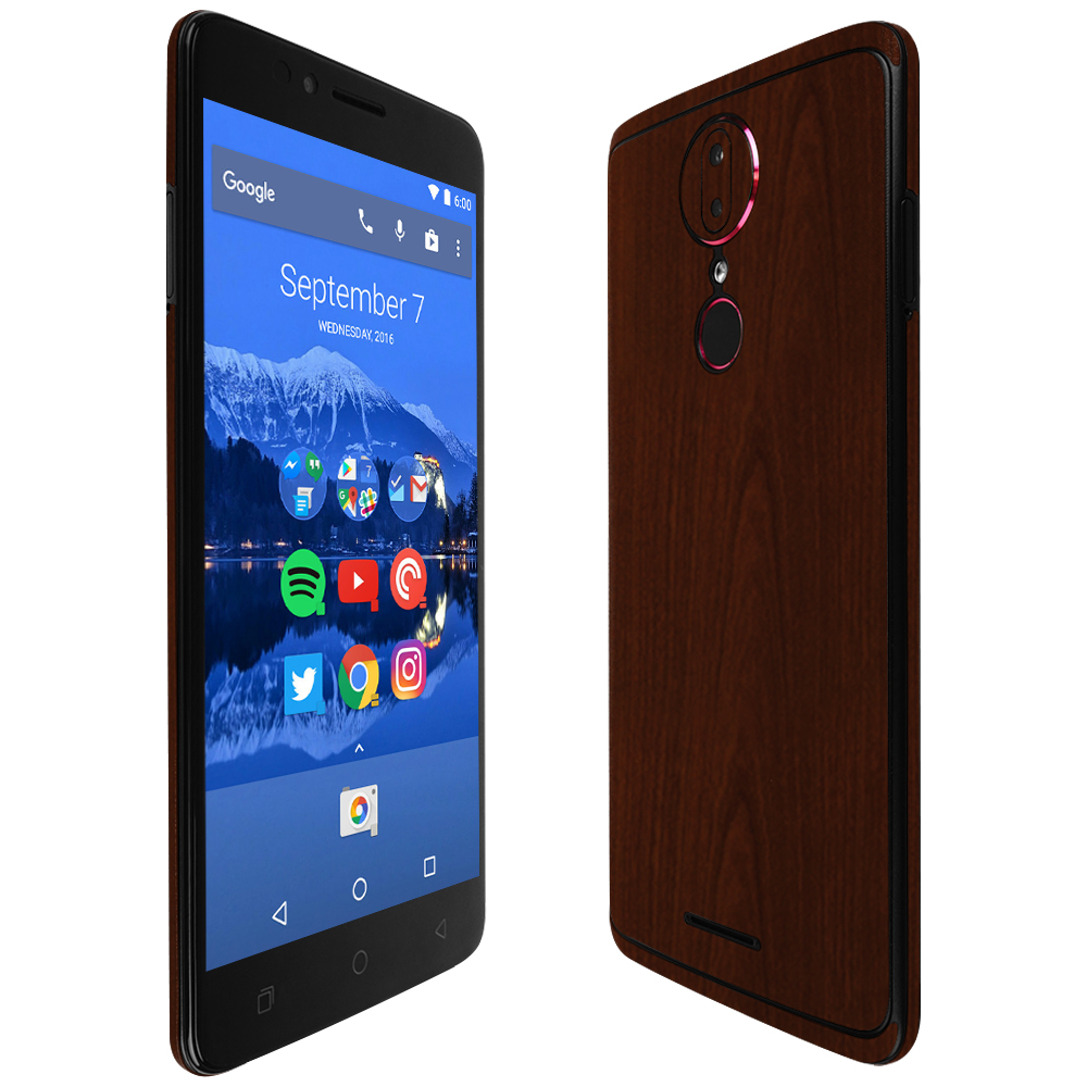 5.7 inch Display Skinomi Dark Wood Full Body Skin Compatible with T-Mobile REVVLRY Full Coverage TechSkin with Anti-Bubble Clear Film Screen Protector