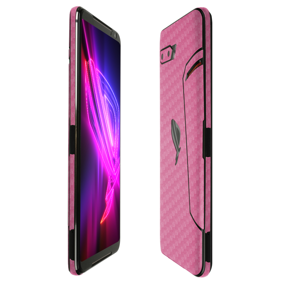 Skinomi Pink Carbon Fiber Full Body Skin Compatible with LG Optimus Dynamic II L39C Full Coverage TechSkin with Anti-Bubble Clear Film Screen Protector
