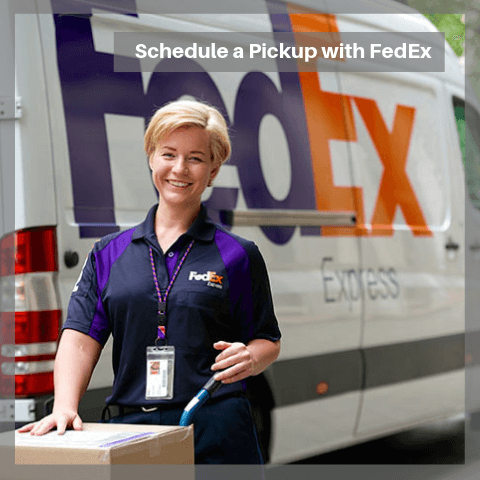 SCHEDULE A PICK UP WITH FEDEX FOR YOUR ELEVATOR SHOES