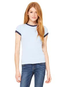 Bella + Canvas 1007 Ladies' Stretch Rib Short-Sleeve Ringer T-Shirt
