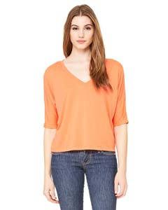 Bella + Canvas 8825 Ladies' Flowy Boxy Half-Sleeve V-Neck T-Shirt