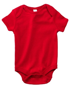 Bella + Canvas B100 Infants'Short-Sleeve Baby Rib One-Piece - RED
