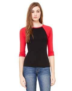 Bella + Canvas B2000 Ladies' Stretch Rib 3/4-Sleeve Contrast Raglan T-Shirt