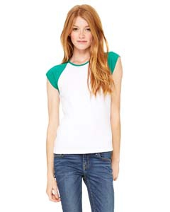 Bella + Canvas B2020 Ladies' Stretch Rib Cap-Sleeve Contrast Raglan T-Shirt