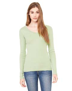 Bella + Canvas B8750 Ladies' Sheer Mini Rib Long-Sleeve V-Neck T-Shirt