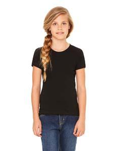 Bella + Canvas B9002 Girls' Jersey Short-Sleeve T-Shirt - BLACK