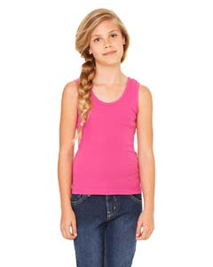 Bella + Canvas B9080 Girls' Stretch Rib Tank - BERRY