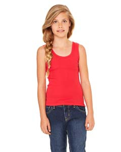 Bella + Canvas B9080 Girls' Stretch Rib Tank - RED