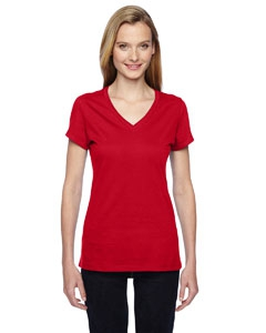 Fruit of the Loom SFJVR Ladies' 4.7  oz. 100% Sofspun Cotton Jersey Junior V-Neck T-Shirt