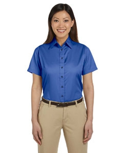 Harriton M500SW Ladies' Easy Blend Short-Sleeve Twill Shirt with Stain-Release