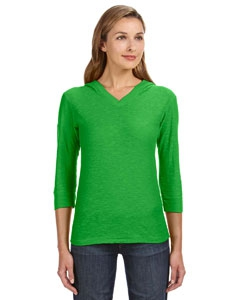 J America JA8153 Ladies' 3/4-Sleeve Hooded Slub T-Shirt