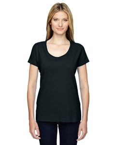 LAT 3504 Ladies' Fine Jersey Deep Scoop Neck Longer Length T-Shirt