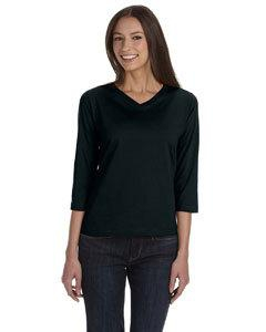 LAT 3577 Ladies' Combed Ringspun Jersey V-Neck 3/4-Sleeve T-Shirt