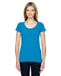 LAT 3604 Juniors' Fine Jersey Deep Scoop Neck Longer Length T-Shirt