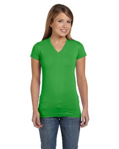 LAT 3607 Juniors' Fine Jersey V-Neck Longer Length T-Shirt