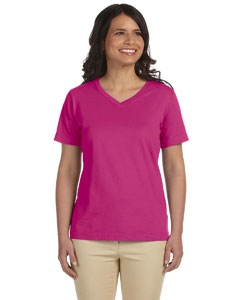 LAT L-3587 Ladies' Combed Ringspun Jersey V-Neck T-Shirt