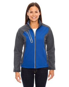 North End 78176 Ladies' Terrain Colorblock Soft Shell with Embossed Print