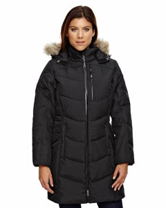 North End 78179 Ladies' Boreal Down Jacket with Faux Fur Trim