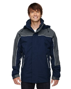 North End 88052 Men's 3-in-1 Seam-Sealed Mid-Length Jacket with Piping