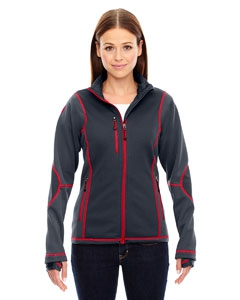 North End Sport Red 78681 Ladies' Pulse Textured Bonded Fleece Jacket with Print