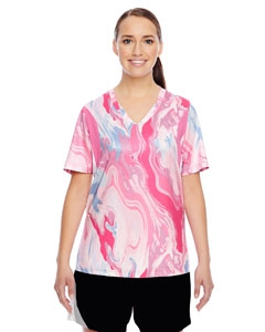 Team 365 TT12W Ladies' Short-Sleeve V-Neck All Sport Sublimated Pink Swirl Jersey