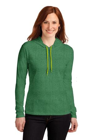 Anvil Ladies 100% Ring Spun Cotton Long Sleeve Hooded TShirt. 887L