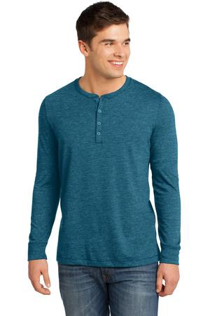 District  Young Mens Gravel 50/50 Long Sleeve Henley Tee. DT1401
