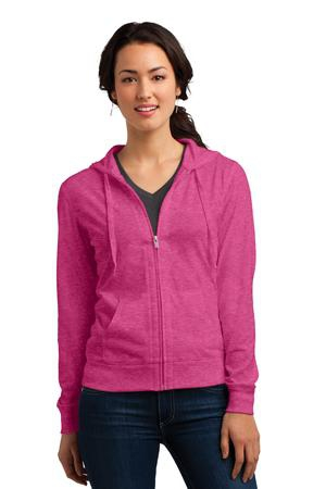 District Women's Fitted Jersey FullZip Hoodie. DT2100