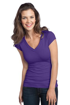 District  Juniors Cotton/Spandex Banded VNeck Tee. DT247