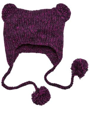 District  Hand Knit CatEared Beanie. DT626