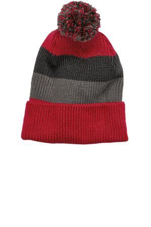 District  Vintage Striped Beanie with Removable Pom. DT627