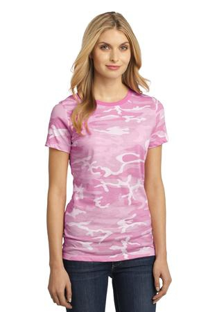 District Made  Ladies Perfect Weight Camo Crew Tee DM104CL