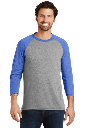 District Made Mens Perfect Tri 3/4Sleeve Raglan. DM136