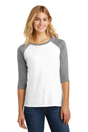 District Made Ladies Perfect Tri 3/4Sleeve Raglan. DM136L