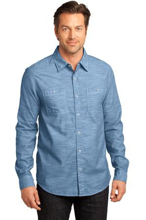 District Made  Mens Long Sleeve Washed Woven Shirt. DM3800