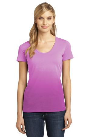 District Made  Ladies Dip Dye Rounded Deep VNeck Tee. DM4310