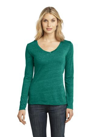 District Made  Ladies Textured Long Sleeve VNeck with Button Detail. DM472