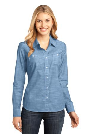 District Made  Ladies Long Sleeve Washed Woven Shirt. DM4800