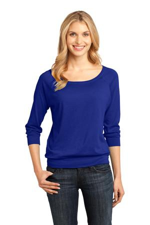 District Made  Ladies Modal Blend 3/4Sleeve Raglan DM482