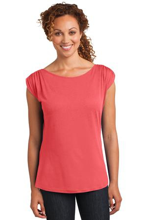 District Made Ladies Modal Blend Gathered Shoulder Tee. DM483