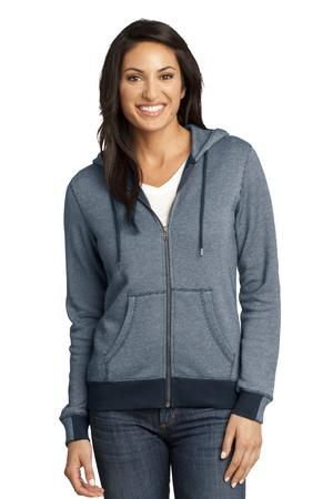 District Made  Ladies Mini Stripe FullZip Hoodie DM490