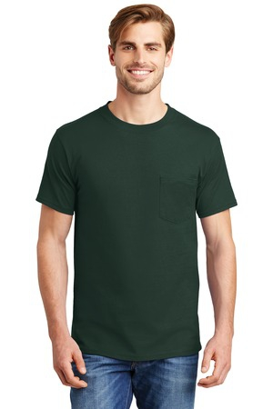 Hanes BeefyT  100% Cotton TShirt with Pocket. 5190