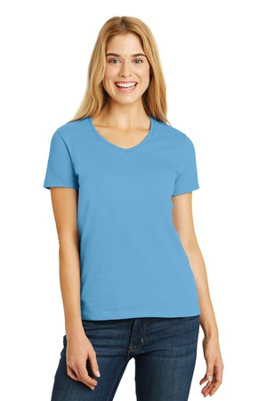 Hanes Ladies Tagless 100% Cotton VNeck TShirt. 5780
