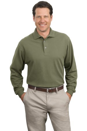 Port Authority Long Sleeve Heavyweight Cotton Pique Polo. K320