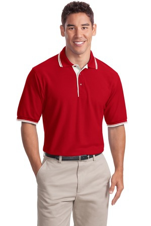 Port Authority Silk Touch Polo with Stripe Trim.  K501