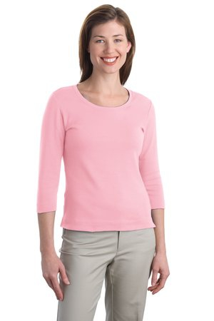 Port Authority Ladies Modern Stretch Cotton 3/4Sleeve Scoop Neck Shirt. L517