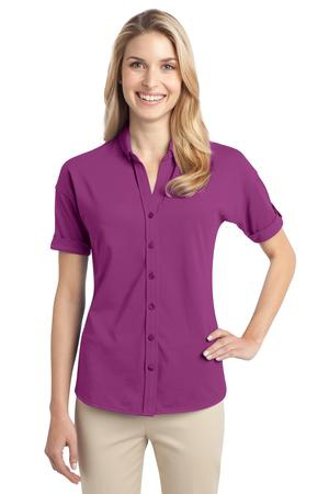 Port Authority Ladies Stretch Pique ButtonFront Shirt. L556