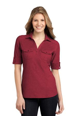 Port Authority Ladies Oxford Pique Double Pocket Polo. L557
